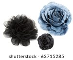 Two Black And One Blue Flower...