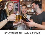 happy friends toasting beer... | Shutterstock . vector #637154425