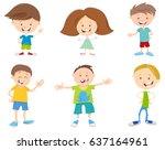 cartoon illustration of happy... | Shutterstock . vector #637164961