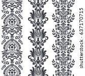seamless floral vertical border ... | Shutterstock .eps vector #637170715