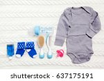 set of clothing and items for a ... | Shutterstock . vector #637175191