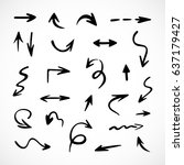 hand drawn arrows  vector set | Shutterstock .eps vector #637179427