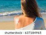 sunbath protection. woman using ... | Shutterstock . vector #637184965