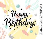 happy birthday typographic...   Shutterstock .eps vector #637186651