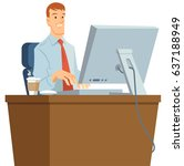 white collar employee working... | Shutterstock .eps vector #637188949