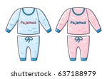 pink and blue pajamas isolated. | Shutterstock .eps vector #637188979