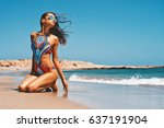 outdoor fashion photo of... | Shutterstock . vector #637191904