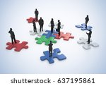 business group standing on the... | Shutterstock . vector #637195861