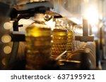 sunflower oil. line for the... | Shutterstock . vector #637195921