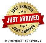 just arrived round isolated... | Shutterstock .eps vector #637198621