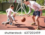caucasian family playing... | Shutterstock . vector #637201459
