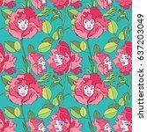 beautiful girl. flowers. roses. ... | Shutterstock .eps vector #637203049