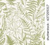spring leafy green seamless... | Shutterstock .eps vector #637205317
