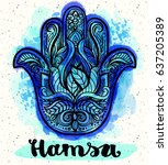 indian hand hamsa with paisley... | Shutterstock .eps vector #637205389