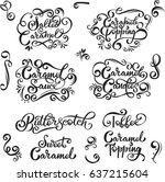 caramel candies toffee  sauce ... | Shutterstock .eps vector #637215604