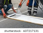 painting works on roads | Shutterstock . vector #637217131