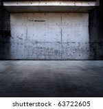 Grungy concrete space with roof - stock photo