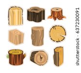 set of different stump trees.... | Shutterstock .eps vector #637230091