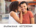 black girl whispering secret to ... | Shutterstock . vector #637230364