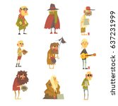 homeless men characters set.... | Shutterstock .eps vector #637231999