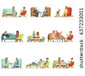 people talking to psychologist. ... | Shutterstock .eps vector #637233001