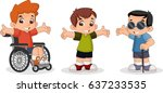cute happy cartoon boys. blind... | Shutterstock .eps vector #637233535