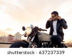 handsome rider man with beard... | Shutterstock . vector #637237339