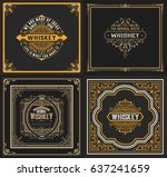 set of 4 old cards. western... | Shutterstock .eps vector #637241659