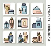 set of beauty cosmetic tubes ... | Shutterstock .eps vector #637246765