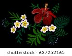 hawaii flower embroidery... | Shutterstock .eps vector #637252165