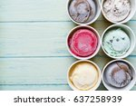 top view ice cream flavors in... | Shutterstock . vector #637258939
