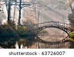 Old Bridge In Autumn Misty Par...