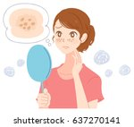 a young woman is suffering from ... | Shutterstock .eps vector #637270141