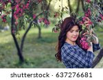 beautiful dark haired girl in a ... | Shutterstock . vector #637276681
