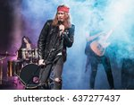 handsome singer with rock and... | Shutterstock . vector #637277437