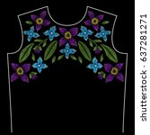 embroidery neck line pattern... | Shutterstock .eps vector #637281271