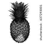 pineapple isolated on white... | Shutterstock . vector #637293001