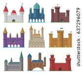 vector set of old flat medieval ... | Shutterstock .eps vector #637296079