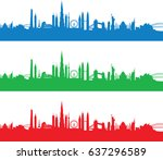 set of cityscapes | Shutterstock .eps vector #637296589