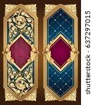 golden ornate decorative... | Shutterstock .eps vector #637297015