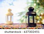 ramadan kareem with tree bokeh... | Shutterstock . vector #637302451