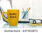 hello june   inscription at... | Shutterstock . vector #637302871