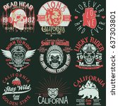 t shirt stamp graphic set ... | Shutterstock .eps vector #637303801