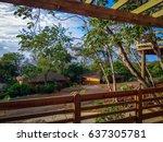 view of a tropical resort... | Shutterstock . vector #637305781