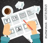 storyboarding process image.... | Shutterstock .eps vector #637315015
