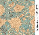 vector flower pattern. seamless ... | Shutterstock .eps vector #637317781
