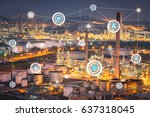 oil refinery factory at... | Shutterstock . vector #637318045