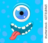 cartoon monster face. vector... | Shutterstock .eps vector #637318465