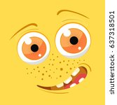 cartoon monster face. vector... | Shutterstock .eps vector #637318501