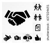 vector simple handshake icon... | Shutterstock .eps vector #637324651